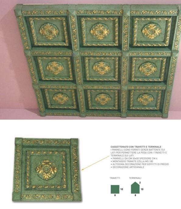 Cassettonato Settecento Verde - Cassettonato in polistirene stampato - Decorget - Ital Decori - Image 2