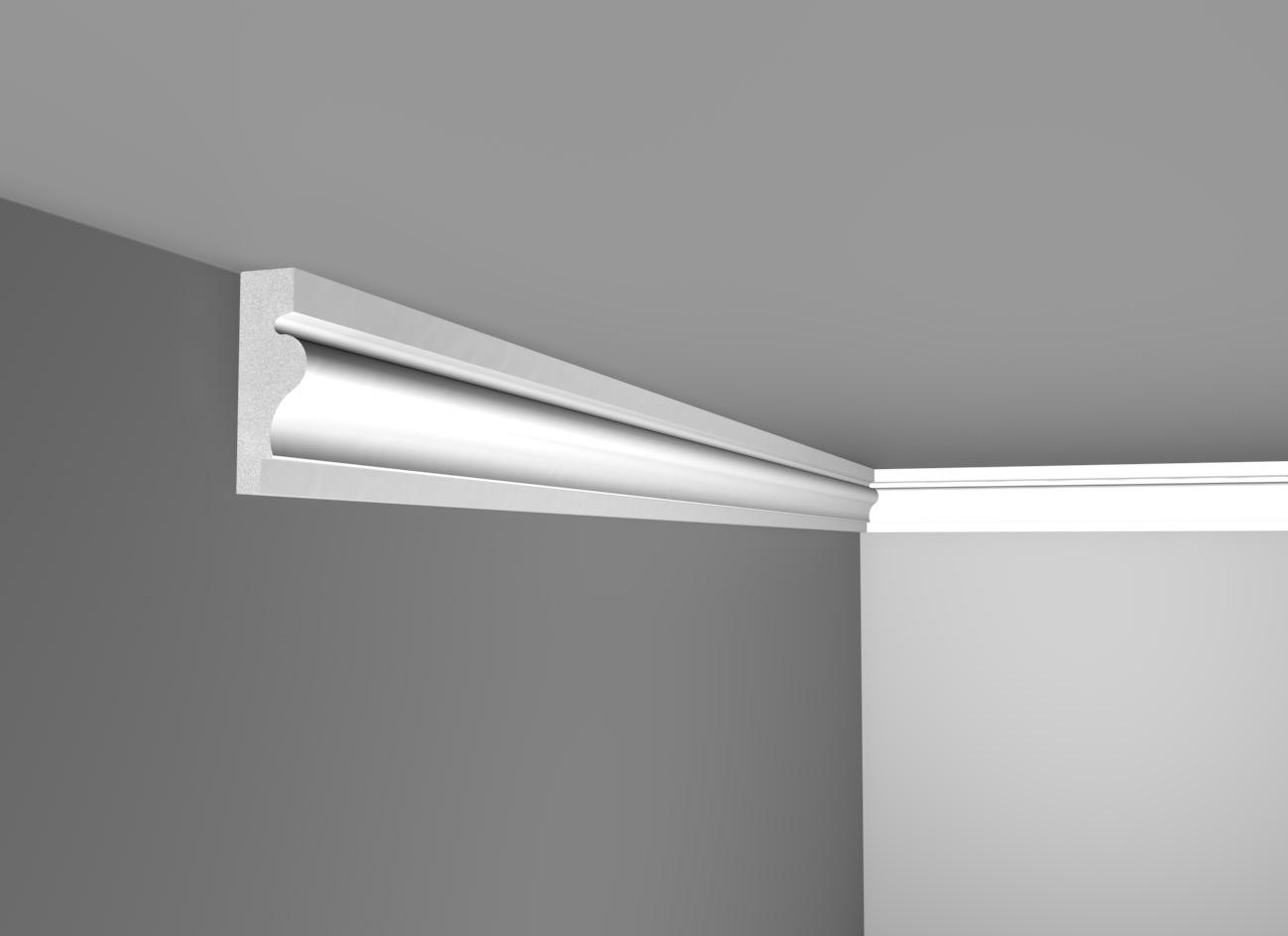 E 65 - Cornice in polistirene gessato bianco - Decorget - Ital Decori - Image 0