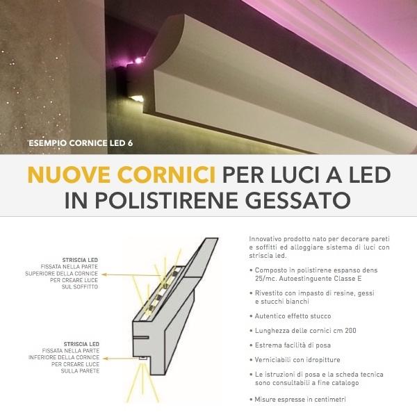 Led 5 - Veletta cornice in polistirene gessato bianco - Decorget - Ital Decori - Image 1