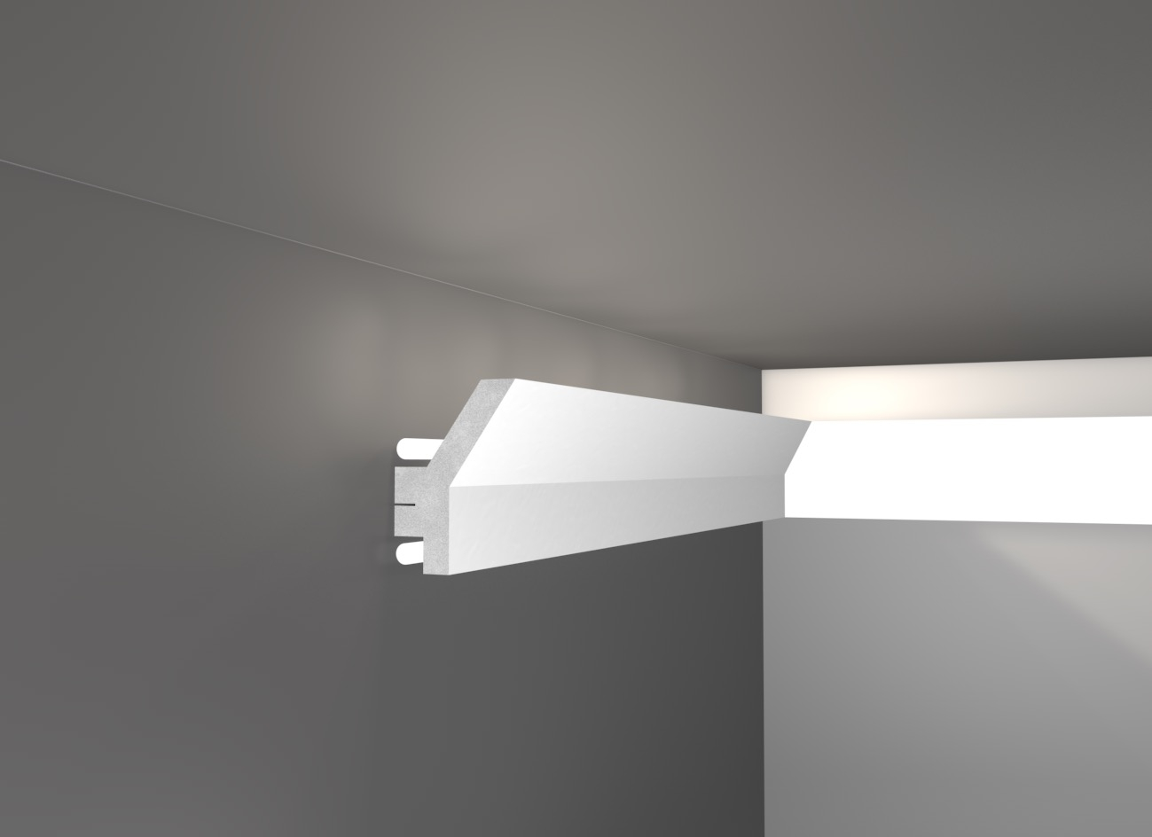 Led 7 veletta cornice in polistirene gessato bianco for Luci a tubo led