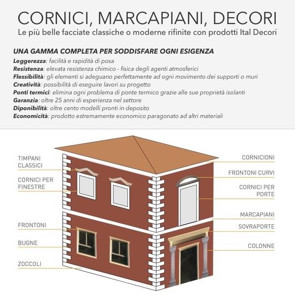 Mb 24 - Cornice e marcapiano in polistirene spalmato con graniglie - Decorget - Ital Decori - Image 1