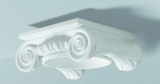Capitello Ionico Ci 1 - Capitello in poliuretano bianco