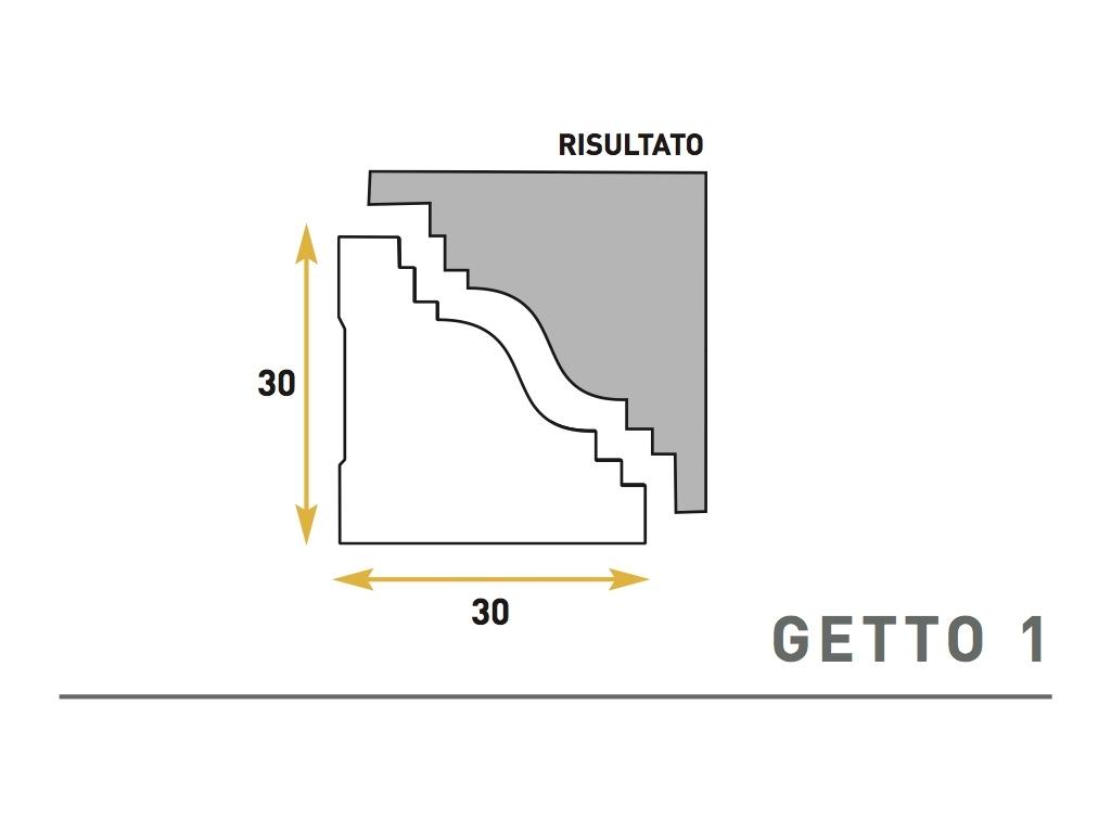 Getto 1 - Cornice sagomata in polistirene espanso - Decorget - Ital Decori