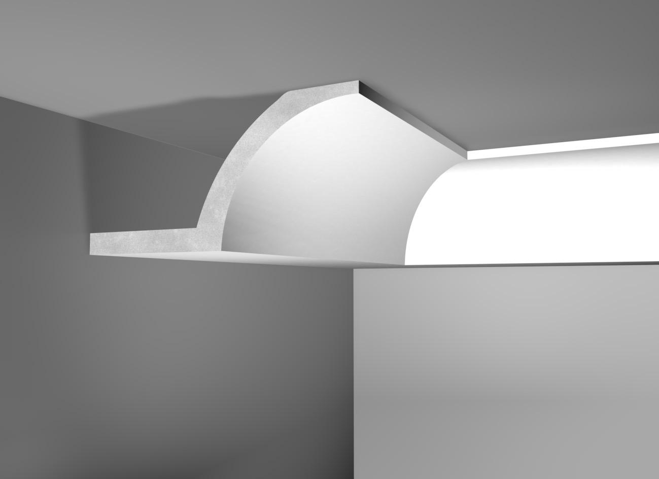 Lux 55 - Cornice in polistirene gessato bianco