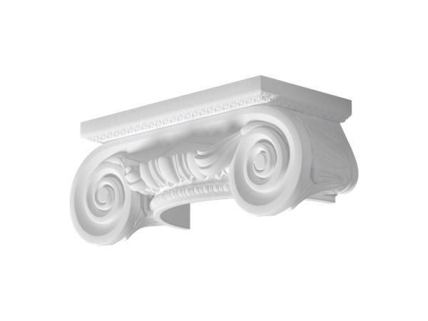 Mezzo Capitello Ionico Hci 1 - Capitello in poliuretano bianco