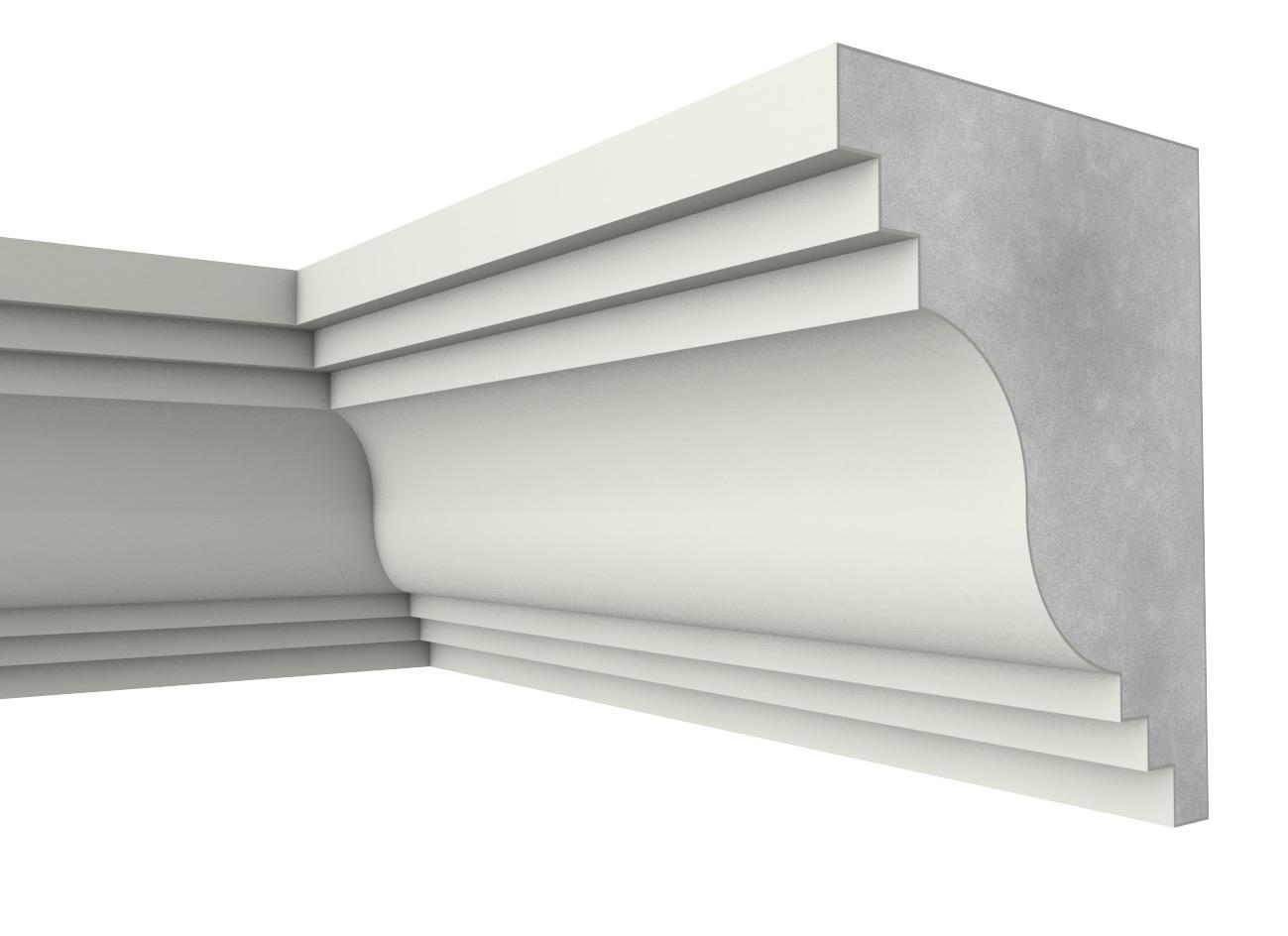 Sg 40 - Cornicione e sottogronda in polistirene spalmato con graniglie - Decorget - Ital Decori